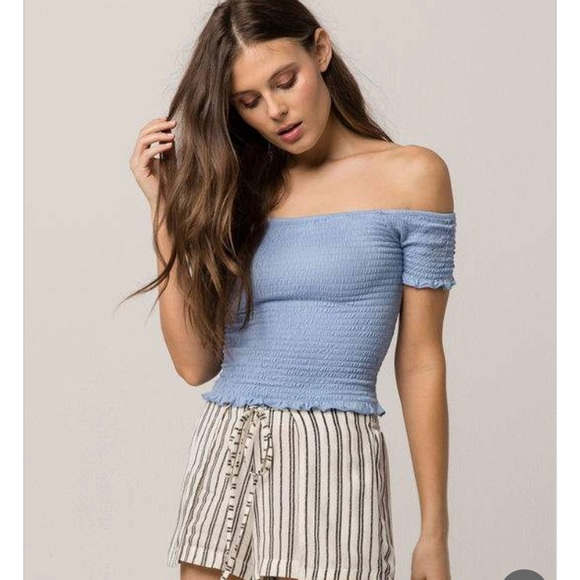 7c7a2def9b6520 Blue off the shoulder top 💓💓. NWT. Tilly s